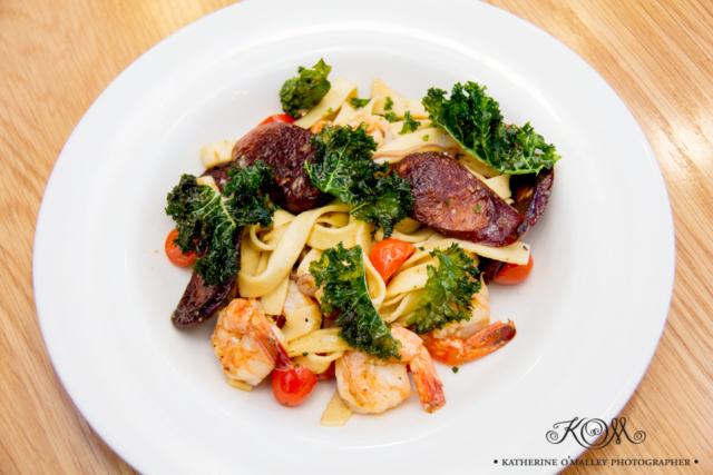Prawn and Chorizo Fettucine.  Arana Leagues Club © katherine o'malley, 2016
