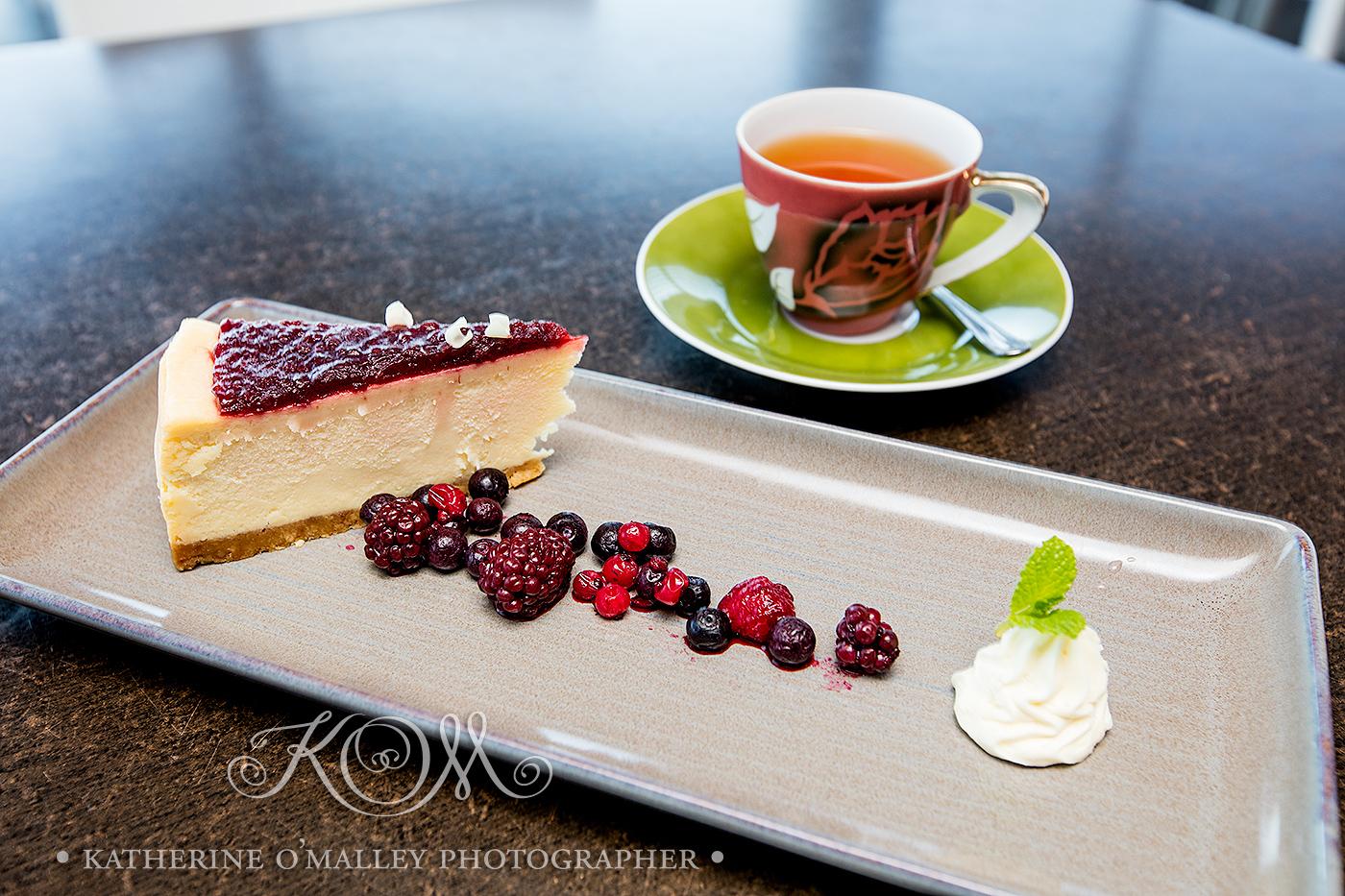 Mixed Berry Cheesecake and Tea. Arana Leagues Club © katherine o'malley, 2016